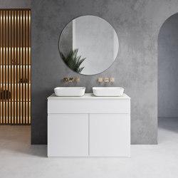 MDF + CORIAN® | Mueble de baño con 2 lavabos Toronto + encimera en Corian® Colour | Armarios lavabo | Riluxa