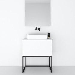 MDF | Mueble de baño independiente Combi en MDF con base de acero - 1 cajón | Armarios lavabo | Riluxa