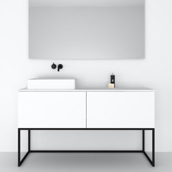 MDF   Combi Freestanding MDF Vanity Cabinet - Steel Base - 2 drawers   Vanity units   Riluxa