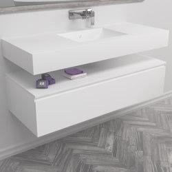 MDF | Mueble de baño suspendido Modulo en MDF - 1 cajón | Armarios lavabo | Riluxa