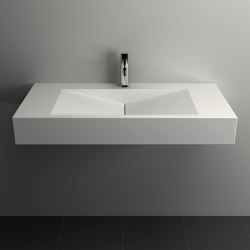 SOLID SURFACE | Anemone Solid Surface Wall Mounted Washbasin - 90cm | Wash basins | Riluxa