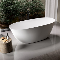 SOLID SURFACE | Caracas Freestanding Solid Surface Bathtub - 160cm | Bathtubs | Riluxa