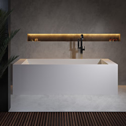 SOLID SURFACE | La Turbie Freestanding Solid Surface Bathtub with shelves - 180cm | Bathtubs | Riluxa