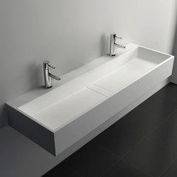 SOLID SURFACE | Lavatera Solid Surface Wall Mounted Washbasin - 120cm | Wash basins | Riluxa