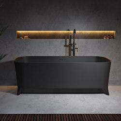 SOLID SURFACE | Lofty Freestanding Solid Surface Bathtub - Black - 180cm | Bathtubs | Riluxa