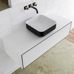 SOLID SURFACE | LAGO Single Basin Wall Mounted MDF Vanity Unit - 1 drawer | Vanity units | Riluxa