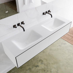 SOLID SURFACE | LAGO Double Basin Wall Mounted MDF Vanity Unit - 2 drawers | Vanity units | Riluxa