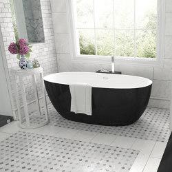 SOLID SURFACE | Nantes Mini Freestanding Solid Surface Bathtub - Black & White - 150cm | Bathtubs | Riluxa