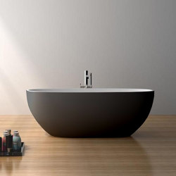SOLID SURFACE | Nimes Freestanding Solid Surface Bathtub - Black & White - 178cm | Bathtubs | Riluxa