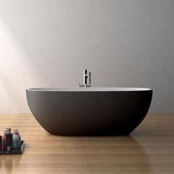 SOLID SURFACE | Nimes Freestanding Solid Surface Bathtub - Black & White - 165cm | Bathtubs | Riluxa