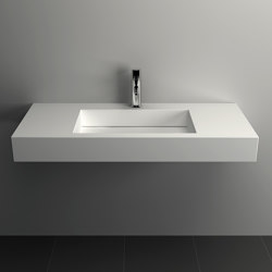 SOLID SURFACE | Poppy Solid Surface Wall Mounted Washbasin - 90cm | Wash basins | Riluxa