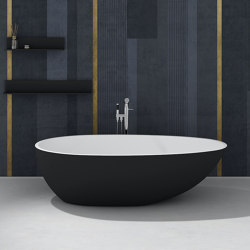 SOLID SURFACE | Toulouse Freestanding Solid Surface Bathtub - Black & White - 178cm | Bathtubs | Riluxa