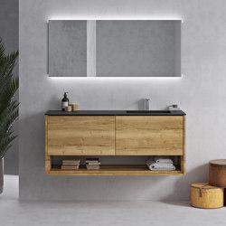 SOLID WOOD | Mueble de baño suspendido Carthage de madera maciza con lavabo Tennessee en Corian® Colour | Armarios lavabo | Riluxa
