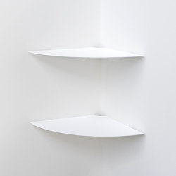 TEEgolo 36 cm Set of 2 White Steel Corner Wall Shelf   Shelving   Teebooks