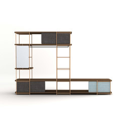 Julia dressing room with black coat rack, fixed upholstered  paneles and mirror. | Shelving | Momocca