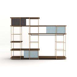Modular dressing room by Julia Collection with black coat rack, fixed and sliding pannels. | Shelving | Momocca