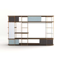 Modular dressing room by Julia Collection with black coat rack, fixed and sliding pannels, and mirror. | Shelving | Momocca