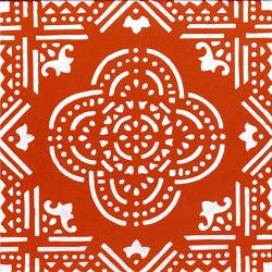 LR SC Madras Fondo Arancio Decoro Bianco | Ceramic tiles | La Riggiola