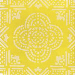 LR SC Madras Fondo Giallo Decoro Bianco | Baldosas de cerámica | La Riggiola