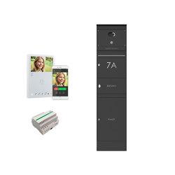 Basic | Edelstahl Briefkastenstele BASIC Plus 864X - Paket- & Zeitungsfach - Comelit VIDEO Komplettset - RAL | Mailboxes | Briefkasten Manufaktur