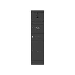 Basic | Edelstahl Briefkastenstele BASIC Plus 864X mit Paket- & Zeitungsfach - Kamera DoorBird D1100E - RAL | Mailboxes | Briefkasten Manufaktur