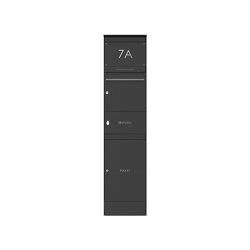 Basic | Edelstahl Briefkastenstele BASIC Plus 864X mit Paketfach & Zeitungsfach - RAL nach Wahl | Mailboxes | Briefkasten Manufaktur