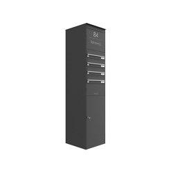 Basic | 4er Edelstahl Briefkastenstele BASIC Plus 864X mit Paketfach 550x370 - RAL nach Wahl | Mailboxes | Briefkasten Manufaktur