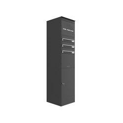 Basic | 3er Edelstahl Briefkastenstele BASIC Plus 864X mit Paketfach 550x370 & Klingelkasten - RAL nach Wahl Oben | Mailboxes | Briefkasten Manufaktur