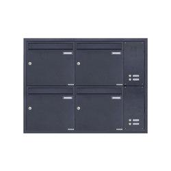 Basic | 4er Edelstahl Unterputz Briefkastenanlage BASIC Plus 382XU UP mit Klingelkasten seitlich - RAL Farbe Rechts 100mm Tiefe | Mailboxes | Briefkasten Manufaktur
