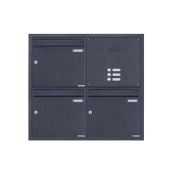 Basic | 3er 2x2 Edelstahl Unterputz Briefkastenanlage BASIC Plus 382XU UP mit Klingelkasten - RAL nach Wahl Rechts 100mm Tiefe | Mailboxes | Briefkasten Manufaktur