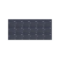 Basic | 18er 6x3 Edelstahl Unterputz Briefkastenanlage BASIC Plus 382XU UP - RAL nach Wahl - 18 Parteien 100mm Tiefe | Mailboxes | Briefkasten Manufaktur