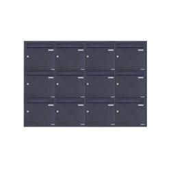 Basic | 12er 4x3 Edelstahl Unterputz Briefkastenanlage BASIC Plus 382XU UP - RAL nach Wahl - 12 Parteien 100mm Tiefe | Mailboxes | Briefkasten Manufaktur
