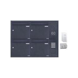 Basic | 4er Unterputz Briefkastenanlage BASIC Plus 382XU UP mit GIRA System 106 - AUDIO Komplettset - RAL Rechts 100mm Tiefe | Mailboxes | Briefkasten Manufaktur