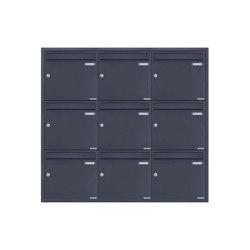 Basic   9er 3x3 Edelstahl Unterputz Briefkastenanlage BASIC Plus 382XU UP - RAL nach Wahl - 9 Parteien 100mm Tiefe   Mailboxes   Briefkasten Manufaktur