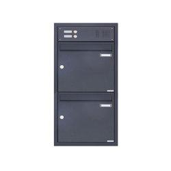 Basic | 2er 1x2 Edelstahl Unterputzbriefkasten BASIC Plus 382XU UP mit Klingelkasten - RAL nach Wahl Oben 100mm Tiefe | Mailboxes | Briefkasten Manufaktur