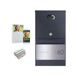 Basic | Edelstahl Aufputzbriefkasten BASIC Plus 382XU Elegance II - Comelit VIDEO Komplettset Wifi - RAL 100mm Tiefe | Briefkästen | Briefkasten Manufaktur