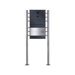 Basic | Edelstahl Standbriefkasten BASIC Plus 381X ST-R Elegance II mit Kamera DoorBird D1100E - RAL Farbe 100mm Tiefe | Mailboxes | Briefkasten Manufaktur