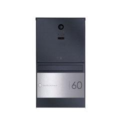 Basic   Edelstahl Aufputzbriefkasten BASIC Plus 382XA Elegance II mit Kamera DoorBird D1100E - RAL nach Wahl 100mm Tiefe   Mailboxes   Briefkasten Manufaktur