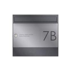 Basic | 1er Edelstahl Aufputz Briefkasten Design BASIC Plus 382XA AP Elegance II - RAL nach Wahl 100mm Tiefe | Mailboxes | Briefkasten Manufaktur