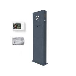 Designer | Briefkastensäule Designer BIG - GIRA System 106 - Video- Sprechanlage - Hausnummer - RAL Farbe Rechts | Mailboxes | Briefkasten Manufaktur