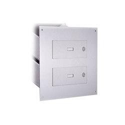 Designer | 2er Edelstahl Mauerdurchwurf Briefkasten Designer Modell - GIRA System 106 - 3-fach vorbereitet | Mailboxes | Briefkasten Manufaktur