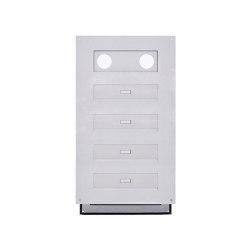 Designer | 4er Edelstahl Mauerdurchwurf Briefkasten Designer Modell - GIRA System 106 - 3-fach vorbereitet | Mailboxes | Briefkasten Manufaktur