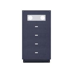 Designer | 4er Edelstahl Mauerdurchwurf Briefkasten Designer - RAL Farbe - GIRA System 106 - 3-fach vorbereitet | Mailboxes | Briefkasten Manufaktur