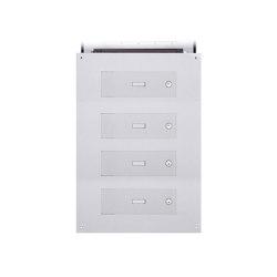 Designer | 4er Edelstahl Mauerdurchwurf Briefkasten DESIGNER Style - Edelstahl geschliffen | Mailboxes | Briefkasten Manufaktur