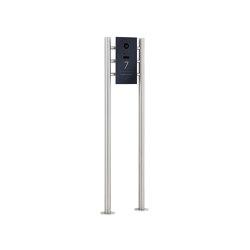 Designer | Edelstahl Video Stele DESIGNER 529S ST-R Elegance I mit DoorBird D1100E - RAL nach Wahl | Door bells | Briefkasten Manufaktur