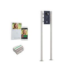 Designer | Edelstahl Video Stele DESIGNER 529S ST-R Elegance I - RAL nach Wahl - Comelit VIDEO Komplettset Wifi | Door bells | Briefkasten Manufaktur