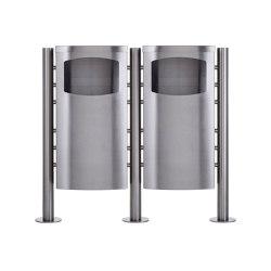 Basic | 2-fach Abfalleimer - Abfallbehälter Design BASIC 650X ST-R - 45 Liter - Edelstahl geschliffen Deckel in Edelstahl, geschliffen | Waste baskets | Briefkasten Manufaktur