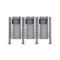 Basic | 3-fach Abfalleimer - Abfallbehälter Design BASIC 650X ST-R - 45 Liter - Edelstahl geschliffen Deckel in Edelstahl, geschliffen | Waste baskets | Briefkasten Manufaktur