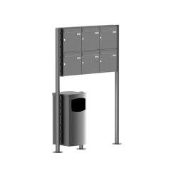 Basic | 6er 2x3 Standbriefkasten Design BASIC Plus 381X ST-R mit Abfallbehälter - Edelstahl V2A geschliffen Rechts 100mm Tiefe | Waste baskets | Briefkasten Manufaktur