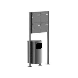 Basic | 4er 2x2 Standbriefkasten Design BASIC Plus 381X ST-R mit Abfallbehälter - Edelstahl V2A geschliffen Rechts 100mm Tiefe | Waste baskets | Briefkasten Manufaktur